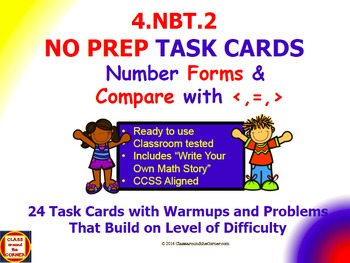 4.NBT.2 Math 4th Grade NO PREP Task Cards—NUMBER FORMS AND