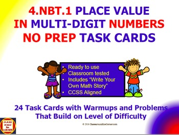 4.NBT.1 Math 4th Grade NO PREP Task Cards—PLACE VALUE BY TENS