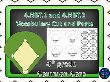 """4.NBT.1 and 2 Baseball Vocabulary """"Cut and Paste"""""""