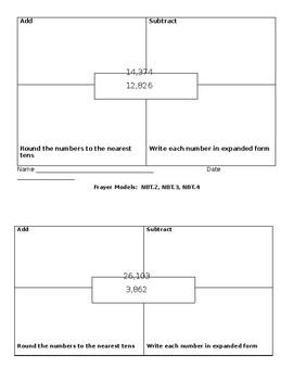 4.NBT.2, 4.NBT.3, 4.NBT.4 Frayer Models