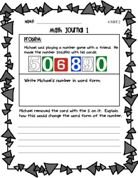 4.NBT.2 & 4.NBT.3 Common Core Math Journals