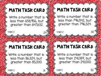 4.NBT.2 4th Grade Math Task Cards