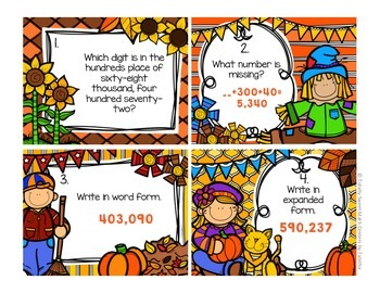 4.NBT.2  Autumn Seat Scoot Class Activity-Whole Numbers to One Million