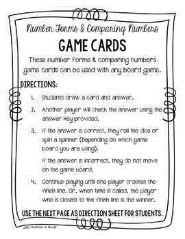 4.NBT.2 Game Cards: Forms of Numbers & Compare Numbers