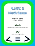 4.NBT.2 Math Game Cards Match and War