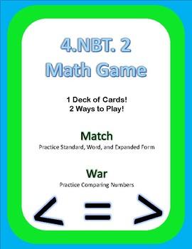 4.NBT.2 Math Game Cards Match and War