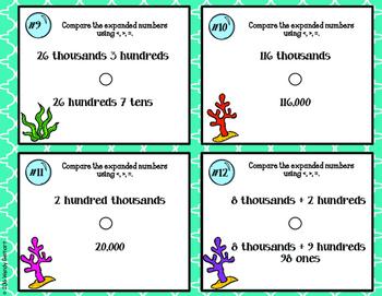 4.NBT.2 Ocean Theme Task Cards