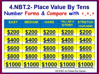 4.NBT.2 THINK ON YOUR FEET MATH! Interactive Test Prep Game—Comparisons