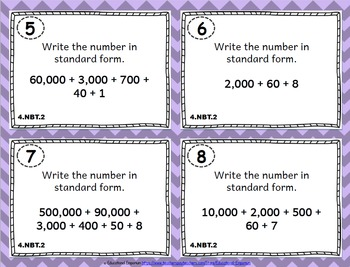 4.NBT.2 Task Cards: Reading, Writing, and Comparing Numbers Task Cards 4.NBT.2