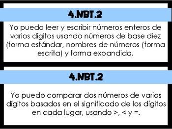 4.NBT.2 Task Cards in Spanish
