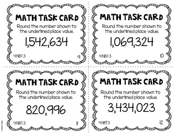 4.NBT.3 4th Grade Math Task Cards (Rounding Whole Numbers)