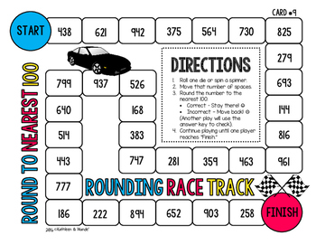 4.NBT.3 Board Game: Rounding Race Tracks {Round to 10, 100, 1000}