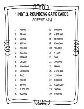 4.NBT.3 Rounding Game Cards