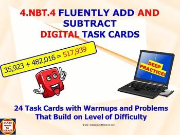 "4.NBT.4 ""Add & Subtract"" DIGITAL TASK CARDS *NO PREP*"