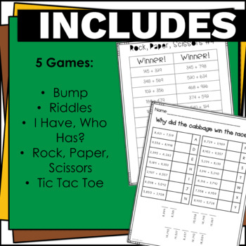 4.NBT.4 Addition Games and Activities Bundle for Math Centers & Groups