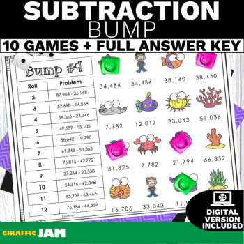 4.NBT.4 Bump Subtraction Game with No Prep for Math Centers