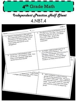 4.NBT.4 Independent Practice
