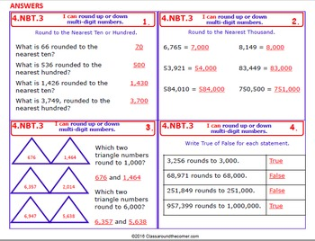 4.NBT.3 Math 4th Grade NO PREP Task Cards— USE PLACE VALUE TO ROUND NUMBERS.