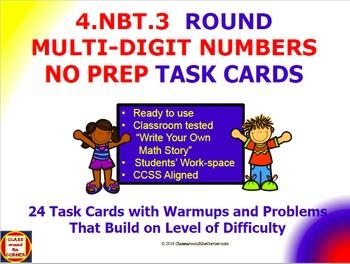 4.NBT.3 Math 4th Grade NO PREP Task Cards— USE PLACE VALUE