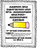 4th Grade Pre/Post Assessment: Addition and Subtraction Un