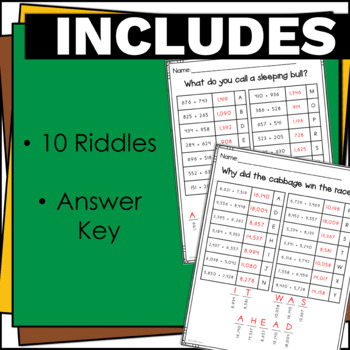 4.NBT.4 Riddles Addition Game with No Prep for Math Centers