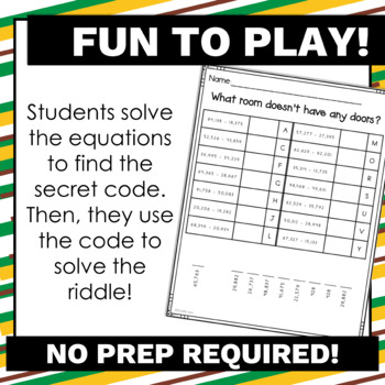 4.NBT.4 Riddles Subtraction Game with No Prep for Math Centers