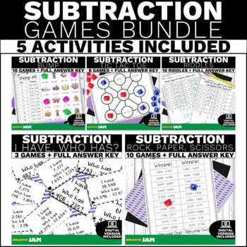 4.NBT.4 Subtraction Games and Activities Bundle for Math Centers & Groups
