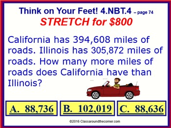 4.NBT.4 THINK ON YOUR FEET MATH! Interactive Test Prep Game—Add & Subtract
