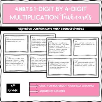 4.NBT.5 4 Digit by 1 Digit Multiplication Task Cards