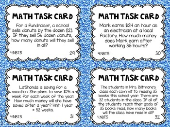 4.NBT.5 4th Grade Math Task Cards (Multiplying Whole Numbers)
