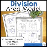 4.NBT.6  Division Worksheets using Area Model
