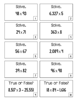 4.NBT.5 Game Cards: 3x1, 4x1, and 2x2 Digit Multiplication