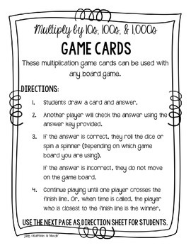 4.NBT.5 Game Cards: Multiply by 10s, 100s, 1,000s