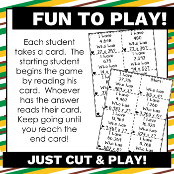 4.NBT.5 Multiplication Math Games!  I have, who has? Common Core Aligned
