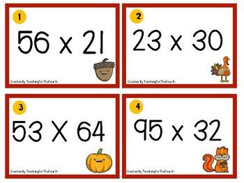 4.NBT.5 Multiplication Task Cards