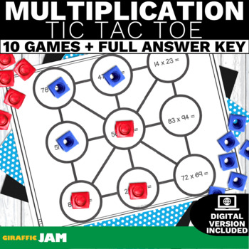4.NBT.5 Multiplication-Math Games-Tic Tac Toe-! No Prep! Common Core Aligned!