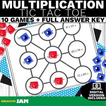 4.NBT.5 Multiplication Tic Tac Toe-Math Games! No Prep! Co
