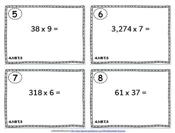 4.NBT.5 Task Cards: Multiplying Whole Numbers Task Cards 4.NBT.5: Multiplication