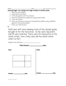 4.NBT.5 Use two algorithms to multiply 2 2-digit numbers w