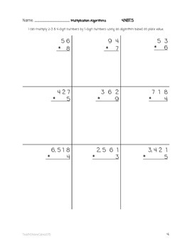 4.NBT.5 Using Partial Products (Place Value Algorithm) to Multiply