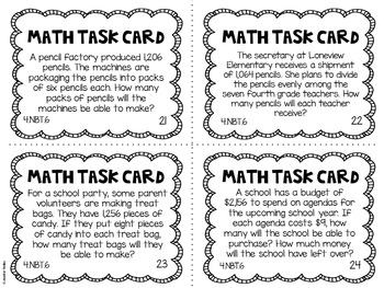 4.NBT.6 4th Grade Math Task Cards (Dividing Whole Numbers)