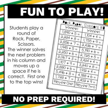 4.NBT.6 Division Math Games-Rock, Paper, Scissors! No Prep! Common Core Aligned