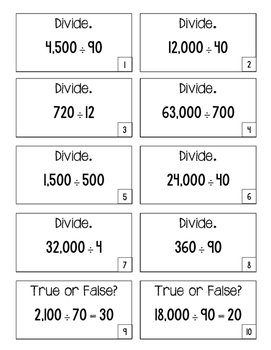 4.NBT.6 Game Cards: Division Patterns with Zero