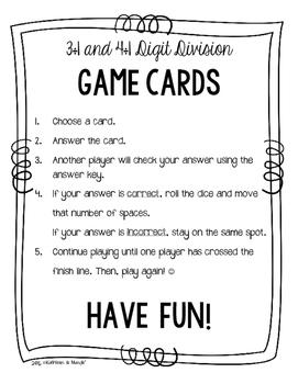 4.NBT.6 Game Cards: Long Division (3 & 4 Digit Dividends)