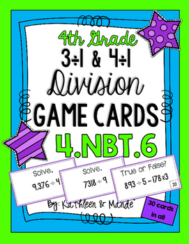 4.NBT.6 Game Cards: Long Division (3 & 4 Digit Dividends)