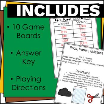 4.NBT.5 Multiplication Math Games-Rock, Paper, Scissors!  No Prep!