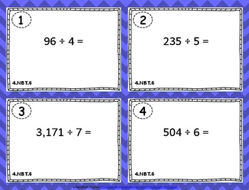 4.NBT.6 Task Cards: Dividing Whole Numbers Task Cards 4.NBT.6 - Division