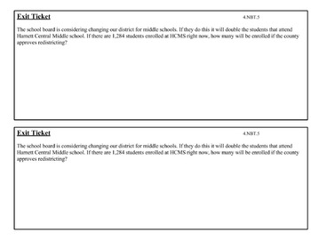 4.NBT.6 Tutoring Plans and Exit Tickets