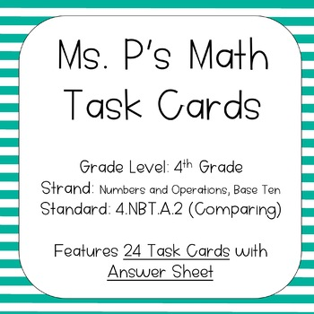 4.NBT.A.2 Compare Multi-Digit Numbers Task Cards
