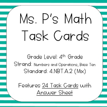 4.NBT.A.2 Comparing AND Expanded Form + Number Name Task Cards